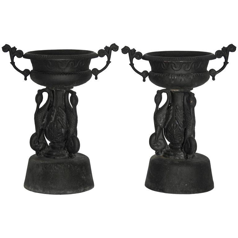 Pair of Cast Iron Garden Urns with Cranes