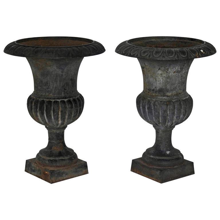 Pair of 19th Century Victorian Cast Iron Planters