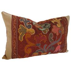 French Hand-Loomed Woolwork Pillow, Late 19th Century