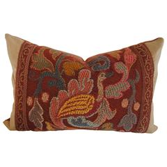 Antique French Hand-Loomed Woolwork Pillow, circa Late 19th Century