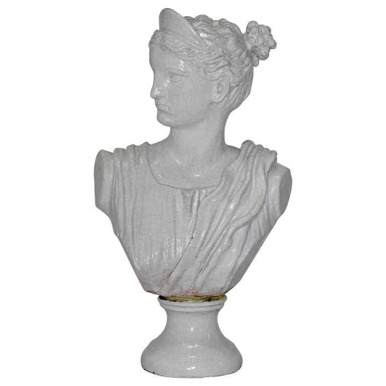 Terracotta Glazed Bust of Diana Goddess of Hunt