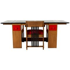 Important and Rare Art Deco Haagse School Desk and Armchair by Henk Wouda