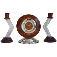 German Art Deco Geometric Clock & Candlestick Set in Chrome & Oak.