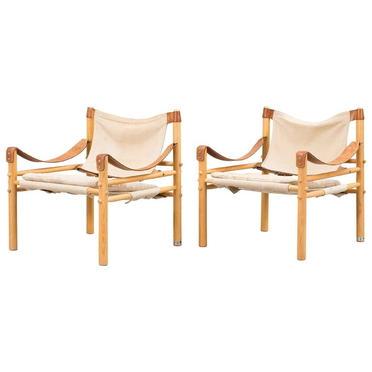 Pair of Arne Norell Safari Sirocco Lounge Chairs, Sweden,
