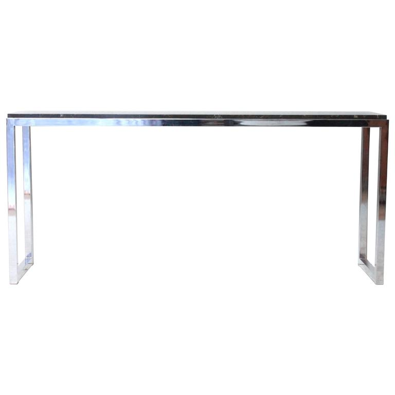Floating Marble Chrome Console Table At 1stdibs