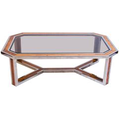 Chrome and Wood Coffee Table Attributed to Romeo Rega