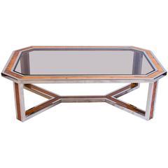 Chrome and Wood Coffee Table by Romeo Rega