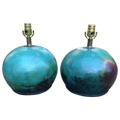 Pair of Raku Pottery Lamps