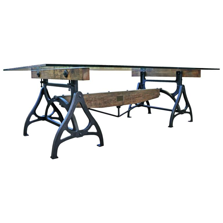 Conference dining table vintage industrial wood steel for Cast iron and glass dining table