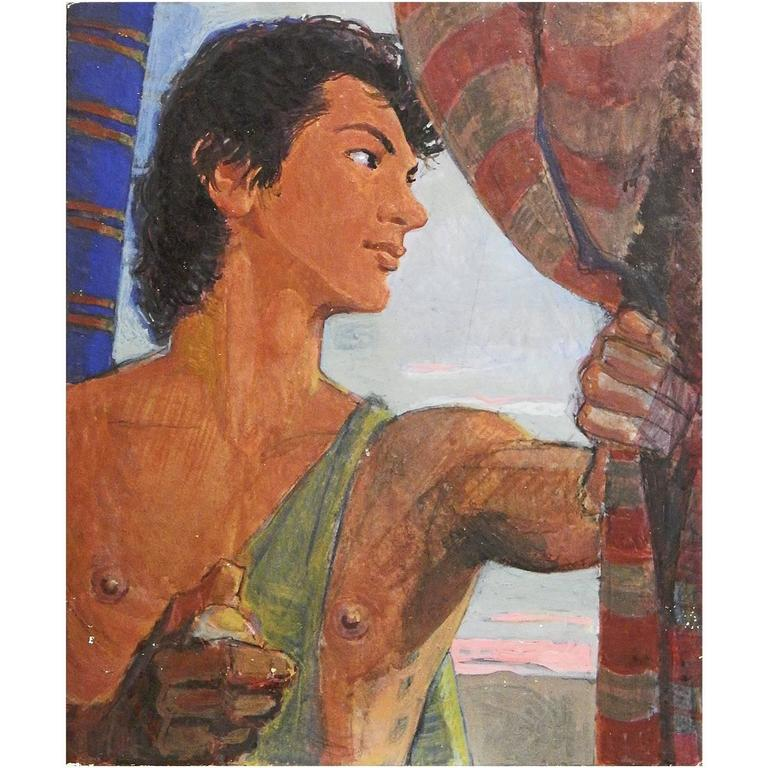 """Male Youth at Sunset,"" Vivid Art Deco Painting by Dunbar Beck, WPA Muralist"