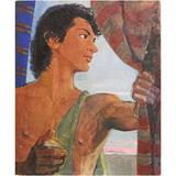 """""""Male Youth at Sunset,"""" Vivid Art Deco Painting by Dunbar Beck, WPA Muralist"""