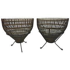 Fantastic Pair of Franco Albini Rattan Fish Basket Side Tables