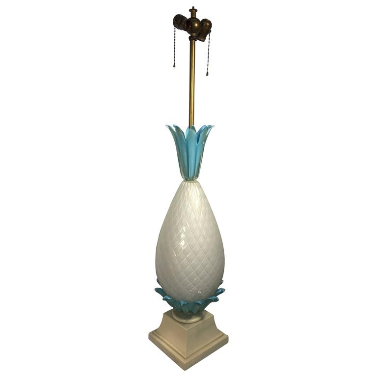Sensational Murano Glass Pineapple Form Table Lamp By