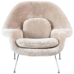 Saarinen Mid-Century Modern Womb Chair by Knoll Reupholstered in Shearling