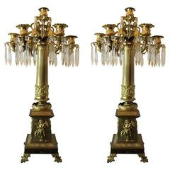Pair of Russian Ormolu Patinated Bronze and Crystal Candelabras by P. Chizhov