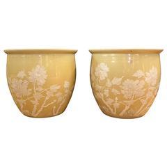 Pair of Chinese 'Pate sur Pate' Ceramic Jardinieres or Fish Bowls
