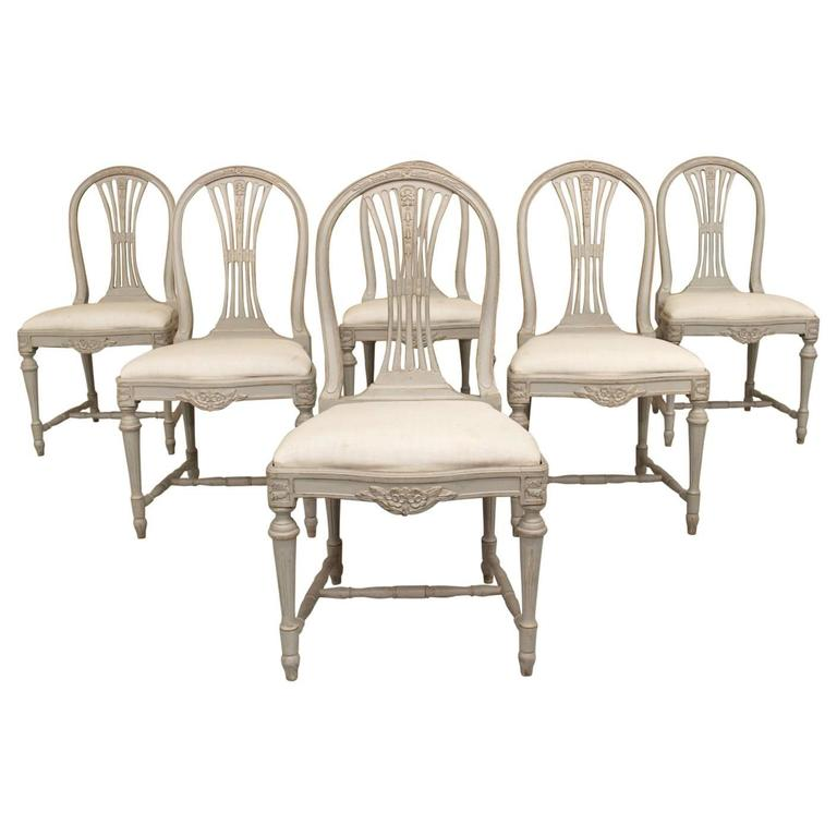 Set of Six Swedish Gustavian Style Painted Wood Side Chairs 1