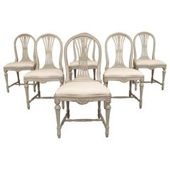 Set of Six Swedish Gustavian Style Painted Wood Side Chairs