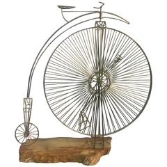 Rare High Wheel Curtis Jere Bicycle Sculpture Mounted on an Onyx Base