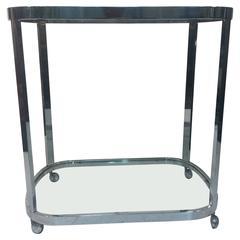 Marvelous Milo Baughman Chrome and Glass Bar Cart