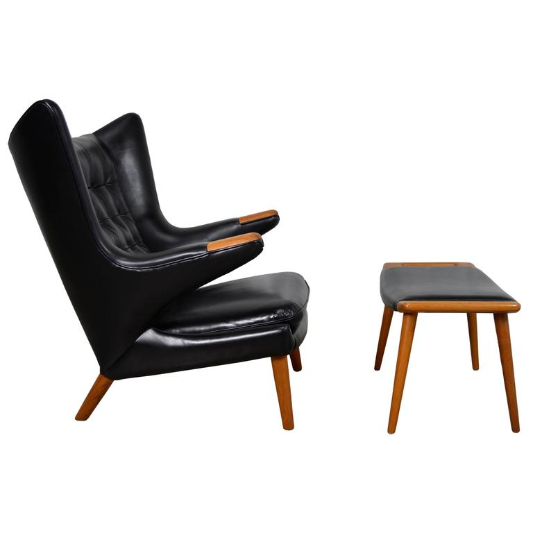 Hans Wegner Papa Bear Chair and Ottoman in Black Leather For Sale