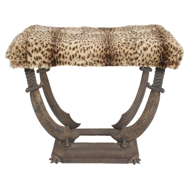 art deco sabre cast iron bench or stool with leopard upholstery by verona for sale at 1stdibs. Black Bedroom Furniture Sets. Home Design Ideas