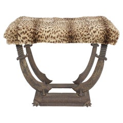 Art Deco Sabre Cast Iron Bench or Stool with Leopard Upholstery by Verona