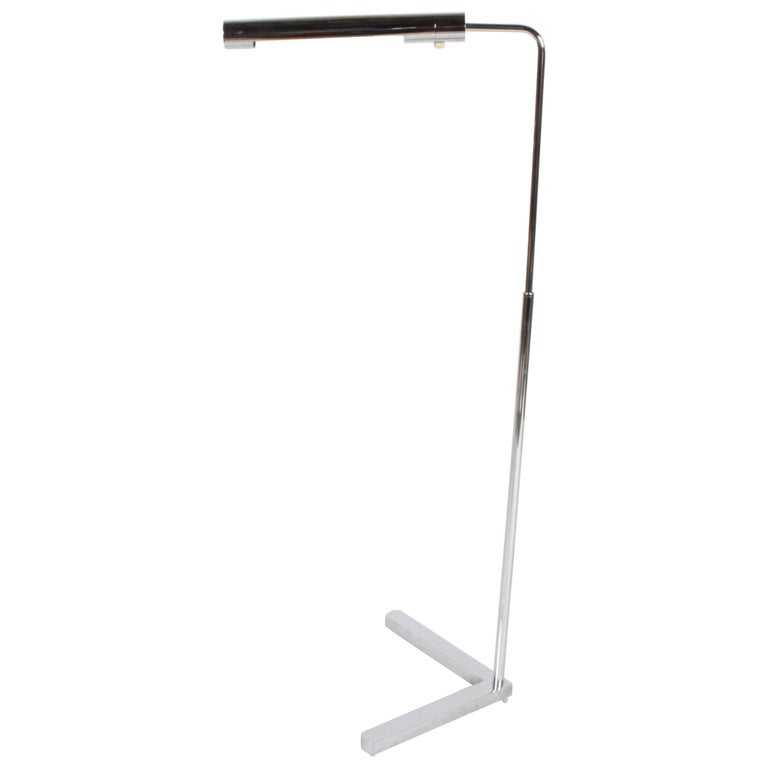 Casella Adjustable Chrome Floor Reading Lamp For Sale