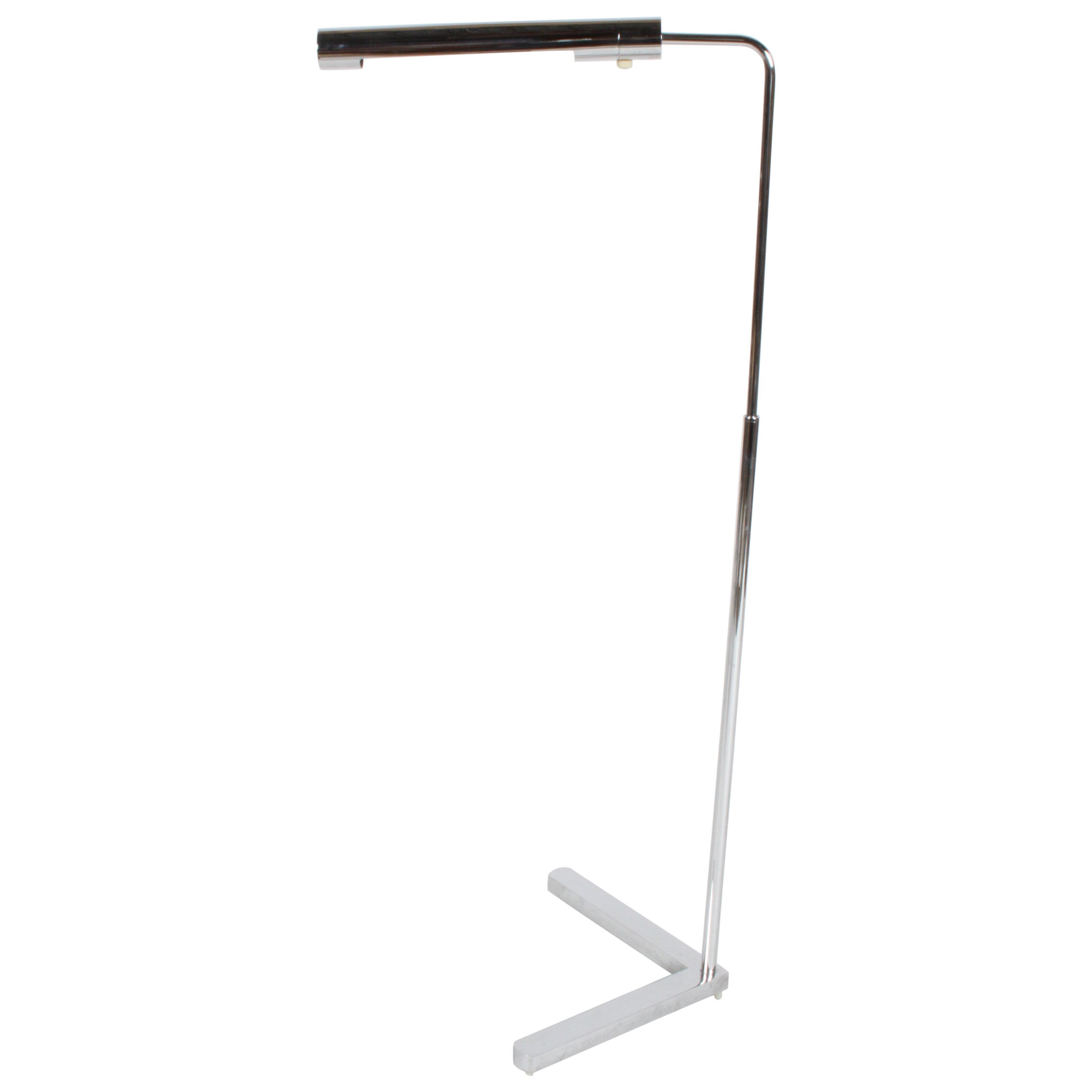 Casella Adjustable Chrome Floor Reading Lamp