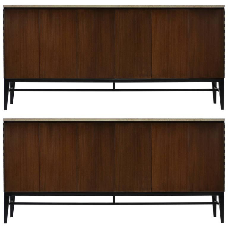 Pair of Paul McCobb Irwin Collection Mahogany and Travertine Credenzas