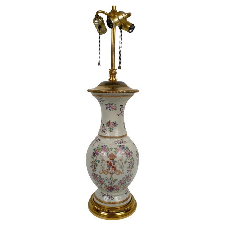 Pair Caldwell Bronze-Mounted 'Armorial Chinese Export' Samson Porcelain Lamp