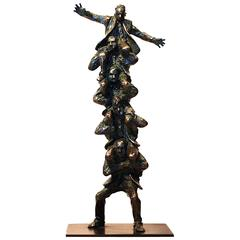"""Manpower"" Bronze Business Sculpture by Jim Rennert"