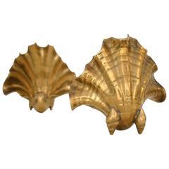Pair of Italian Brass Shell Garniture