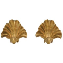 Pair of Italian Brass Shell Garniture