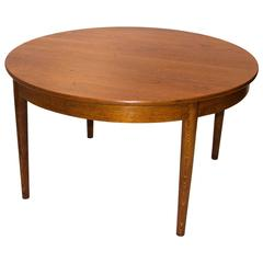 Danish Round Teak Dining Table with Four Skirted Leaves by Johannes Hansen
