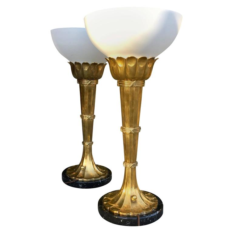 Pair Of Large Brass Torchiere Table Lamps By Chapman At 1stdibs