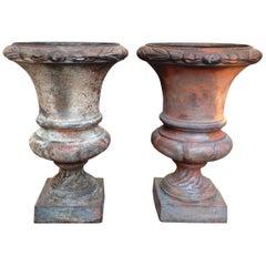 Pair of Diminutive Cast Iron Urns