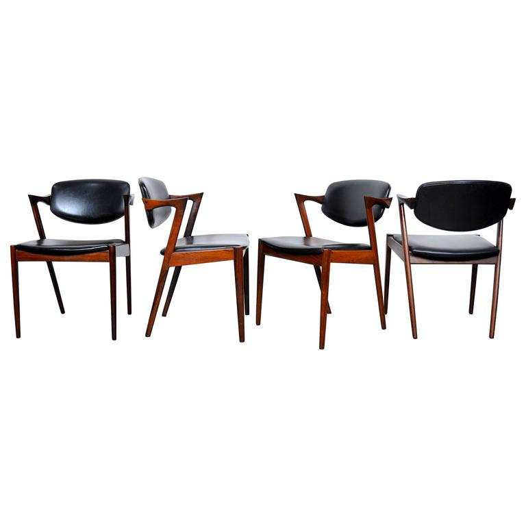 Set of Four Kai Kristiansen Model 42 Rosewood Dining Chairs 1