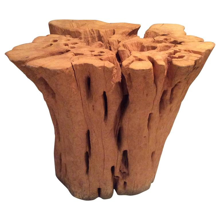 Cypress driftwood tree base trunk dining game table round for Tree trunk dining table