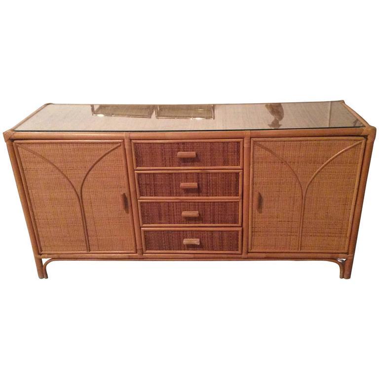 rattan sideboard wicker vintage credenza buffet dresser. Black Bedroom Furniture Sets. Home Design Ideas