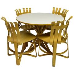 Dining Table and Four Chairs Designed by Frank Gehry for Knoll 1997, USA