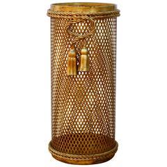 1950s Italian Hollywood Regency Gold Gilded Umbrella Stand by Li Puma Firenze