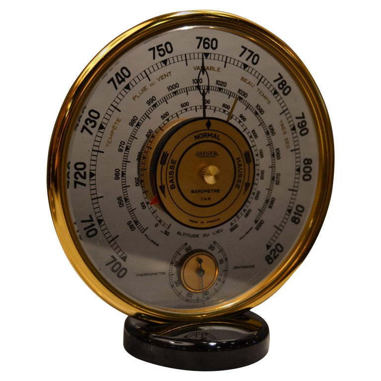 1940s Jaeger Desk Top Barometer and Thermometer For Sale