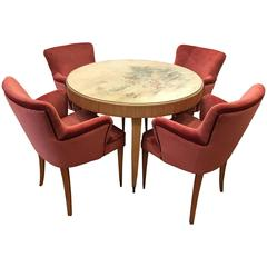 Elegant 1940s Italian Table and Armchairs, Attributed to Paolo Buffa