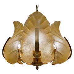 Carl Fagerlund Orrefors Chandelier Glass & Brass, 1960s, Sweden