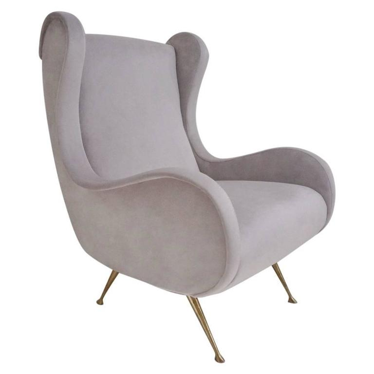 Marco Zanuso Style Senior Armchair, Available in 25 Colors of Velvet, Italian 1