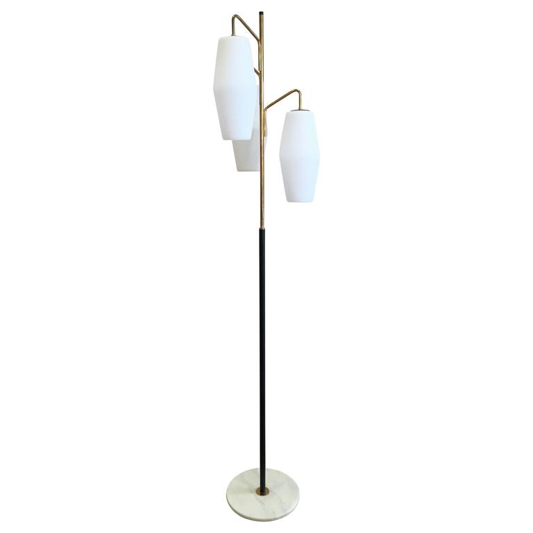 Important stilnovo floor lamp glass and brass 1950s at for 1950 s brass floor lamp