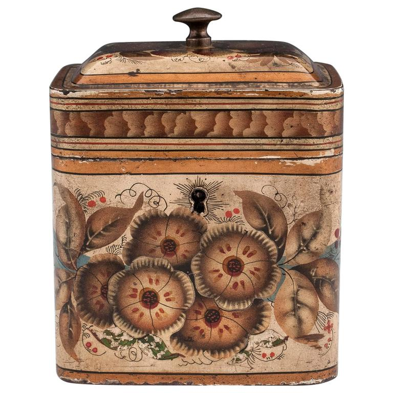 Georgian Painted Tin Toleware Tea Caddy