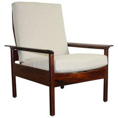 1950s Rosewood Danish Lounge Chair by Hans Olsen with Pale Grey Upholstery
