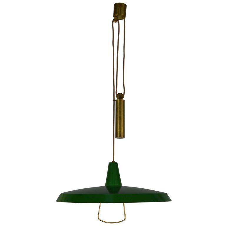 Stilnovo Pendant Counter Balance Ceiling Lamp, Italy, 1950s